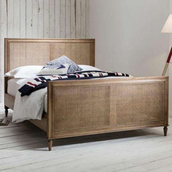 5' King Size Solid Mindi Wood & Teak & Cane Bed Weathered Colonial Bedroom Range