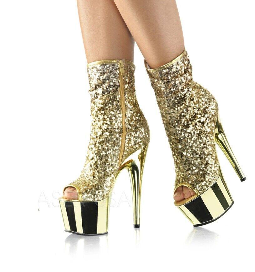 7  Or Paillettes Platform Strip-teaseuse talons Disco Chaussures danseuse démarrage Taille 8 9 10 11