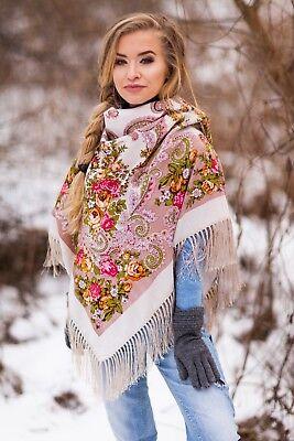 Vintage Colourful Shawl in Russian folk style SCARF 75 x 75 cm SKY Ludmila