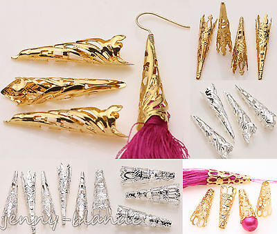 25/50pcs Gold Silver Plated Long Cone Horn Spacer Bead Caps Earring Finding DIY