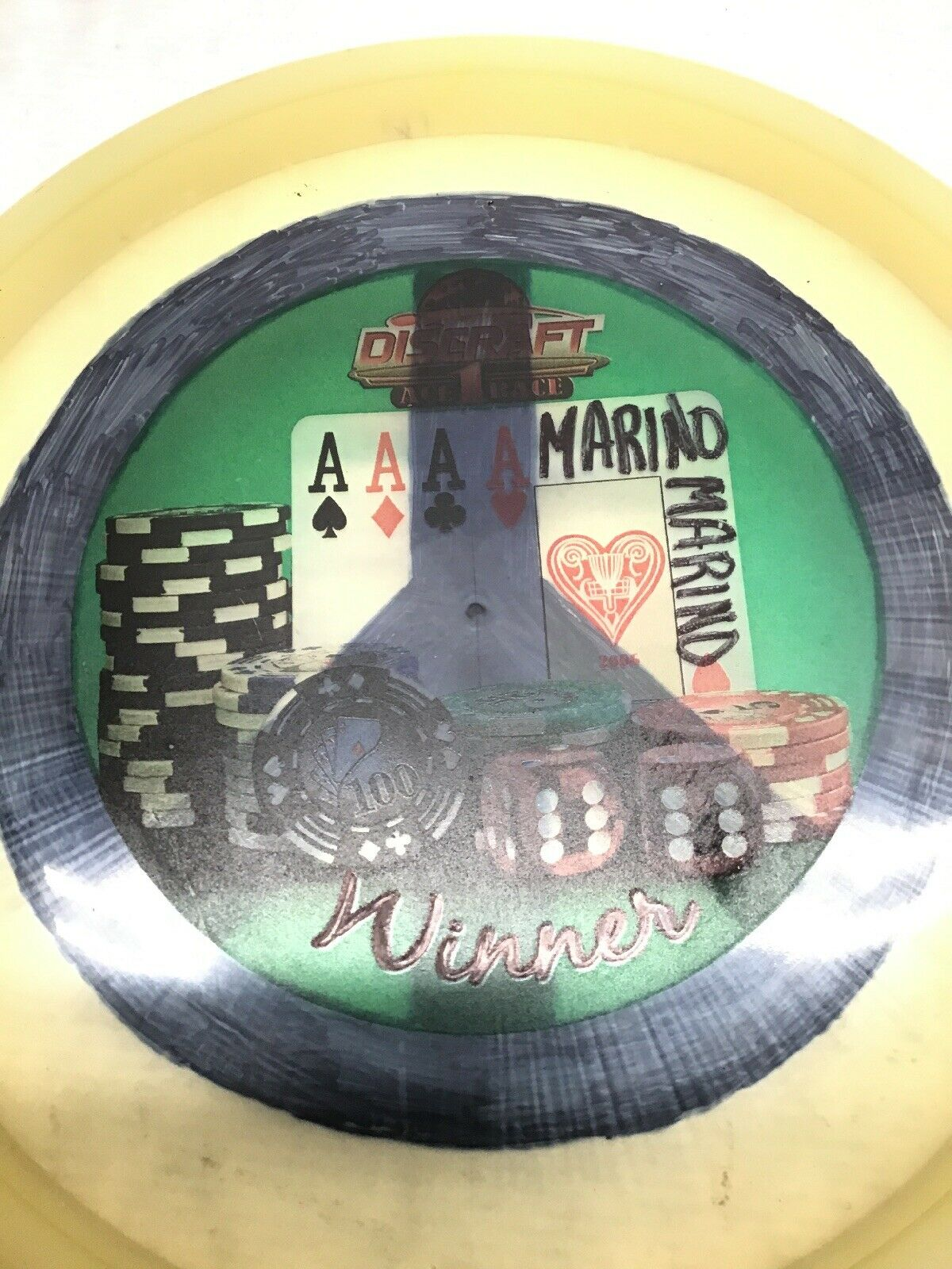 Vintage discraft Ace 1 Race Marino vainqueur numéroté  173 Paix Signe Clear Disc