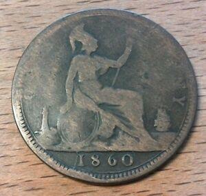 One-Penny-Grossbritannien-1860-Queen-Victoria-junges-Portrait