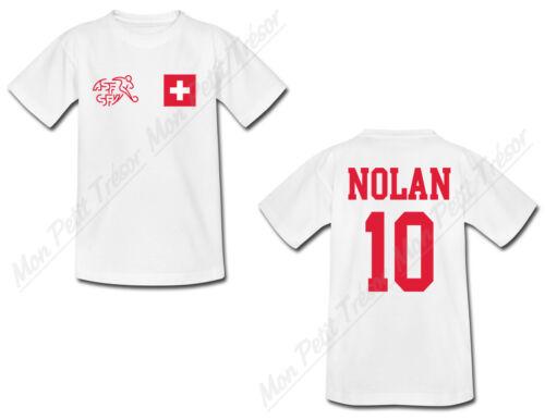 T-shirt Enfant Football Maillot Suisse personnalisé avec prénom et numéro au dos