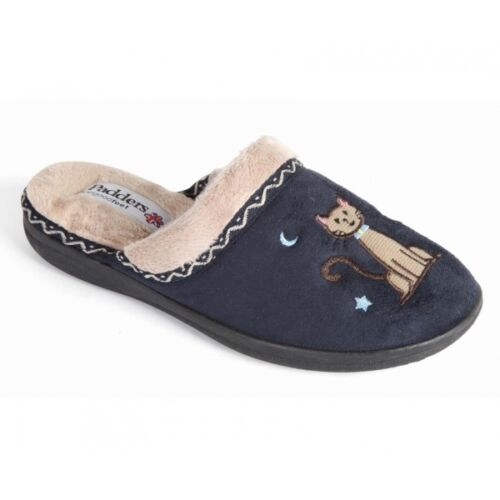 Padders TABBY Ladies Womens Microsuede Extra Wide Cosy Mule Cat Slippers Navy
