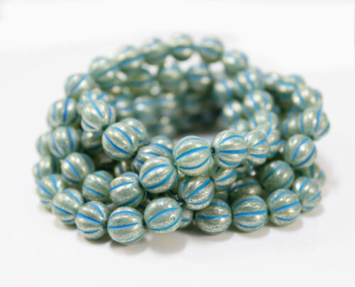 Czech Melon Beads Etched Aqua~8mm~Bohemian~Boho~Etched Beads