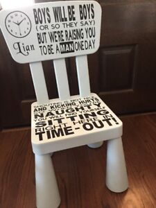Image is loading Boy-or-girl-Custom-made-Time-Out-Chair- & Boy or girl Custom made Time Out Chair. Perfect for toddlers at home ...