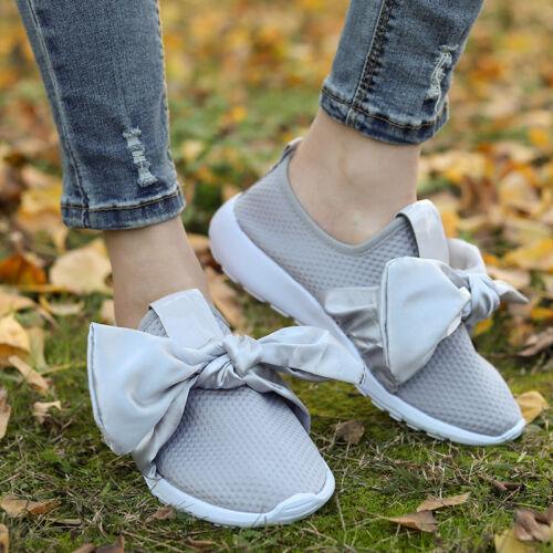 Damen Sneaker Turnschuhe Bowknot Jogging Sports Lauf Slin On Freizeit Schuhe