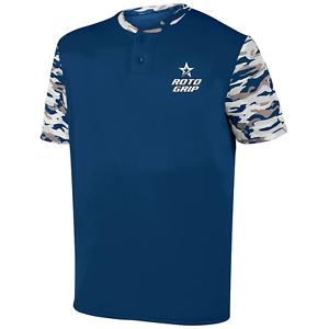 redo Grip Men's Horizon Performance Crew Bowling Shirt Dri-Fit Navy