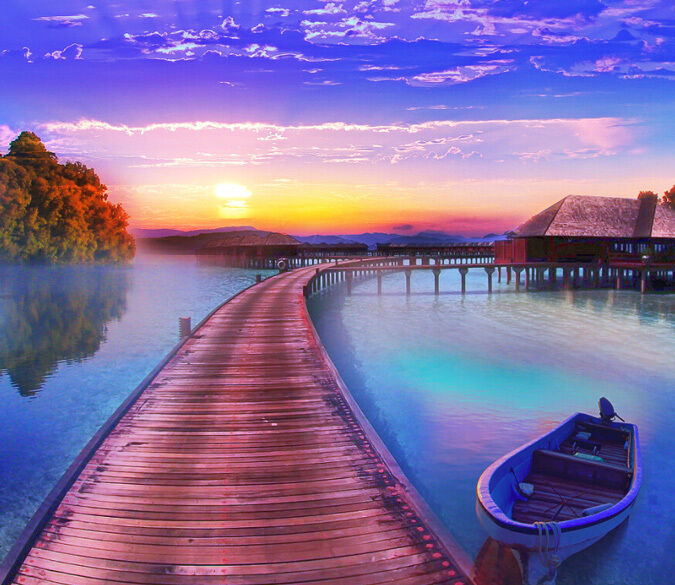 3D Wood lake sunset 1 WallPaper Murals Wall Print Decal Wall Deco AJ WALLPAPER