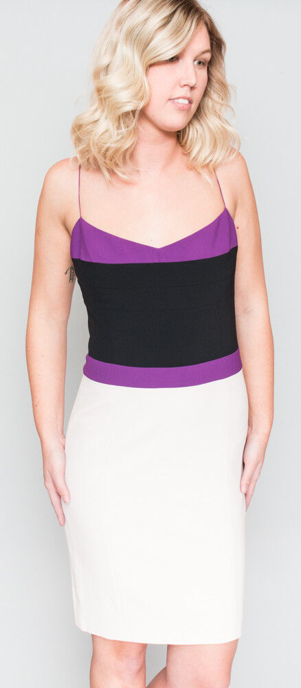 1795 NWT Women's NARCISO RODRIGUEZ  Purple White Mini Dress 42 M 8