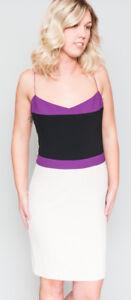 NWT-Women-039-s-NARCISO-RODRIGUEZ-Italy-Purple-White-Mini-Dress-42-M-8
