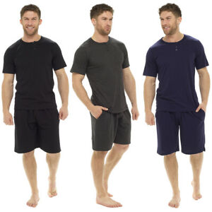 3fb6abf4e9 Mens Loungewear Placket Jersey Short Sleeve Top & Short Pyjama Set ...