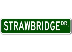 Personalized Last Name Sign STRAWBRIDGE Street Sign