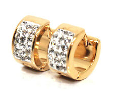 18K Gold Filled Round Crystal 15mm Hoop Ear Studs Huggie Earrings