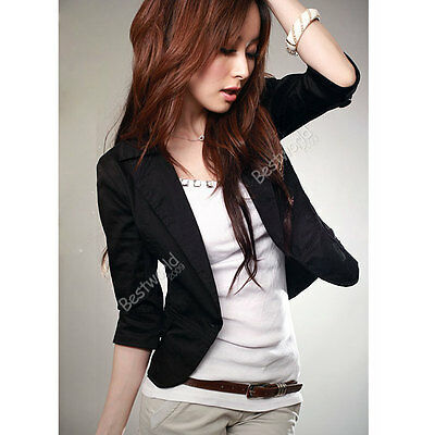 New Womens Slim Short One Button Suit Blazer 3/4 Sleeve OL Outwear Jacket Coat