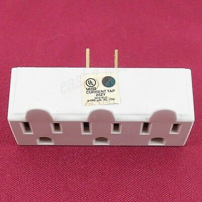 3 Outlet 2-Prong UL Grounded Electric Wall Tap Power Adapter 1,2,3,6 or12 Pk NEW