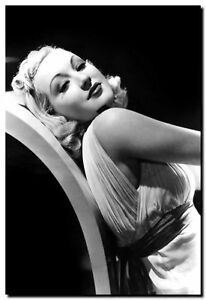 BETTY GRABLE RECLINING- vintage pinup High Quality Canvas Art Print Poster A4