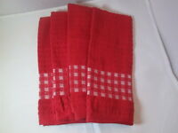 Kitchen Towels Set Of 4 - 100% Cotton - Red Color - Size 14 X 25