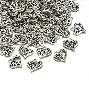 Lots-30pcs-Tibetan-Silver-Alloy-Hollow-Heart-Charms-Pendants-Findings-Crafts