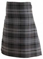 Scottish Traditional Hamilton Grey Tartan 8 Yard Kilt 30 - 48 Sizes Available