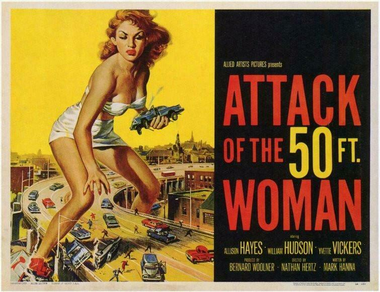 ATTACK OF THE 50 Foot Woman Movie Art silk Poster room decor 12x18 24x36in A-209