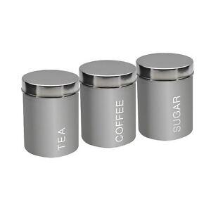 Metal Tea Coffee Sugar Canisters Set of 3 - Grey - 95mm x 130mm