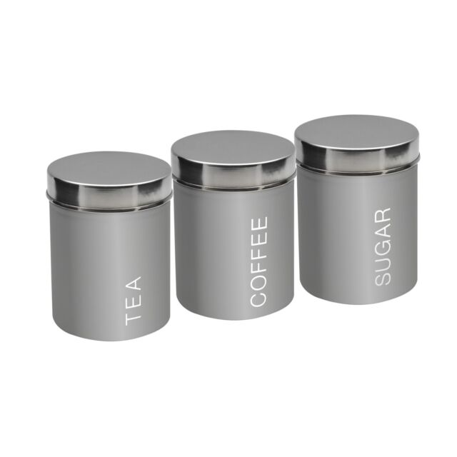 Metal Tea Coffee Sugar Canisters Set Of 3 Grey 95mm X 130mm