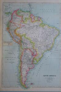 1919-MAP-SOUTH-AMERICA-ARGENTINE-REPUBLIC-CHILE-URUGUAY-PARAGUAY-BOLIVIA-PERU