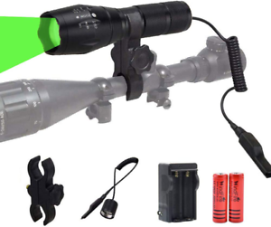 Green LED Light 300 Yards Tactical Flashlight Zoomable Spot Flood Light Torch
