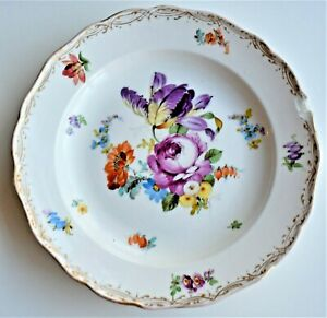 Antique-Meissen-Dinner-Plate-Dish-Chipped-Rim-Flowers-24cm-wide-19th-Century