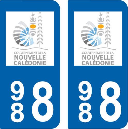 Département 988 sticker 2 autocollants style immatriculation AUTO  CALEDONIE