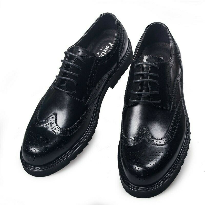Mens Brogue Round Toe Lace Up Carve shoes Wing Tip Flat Spring British Leather
