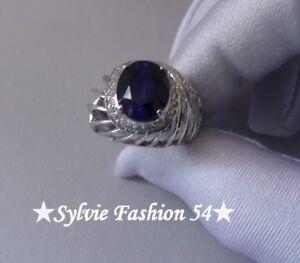 Magnifique-bague-argent-925-ciselee-bleu-Saphir-brillants-zc-T-54