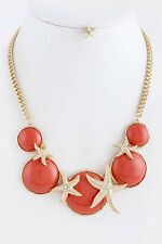 D25 Acrylic Dome Gold Crystal Coral Starfish Necklace Earrings Boutique
