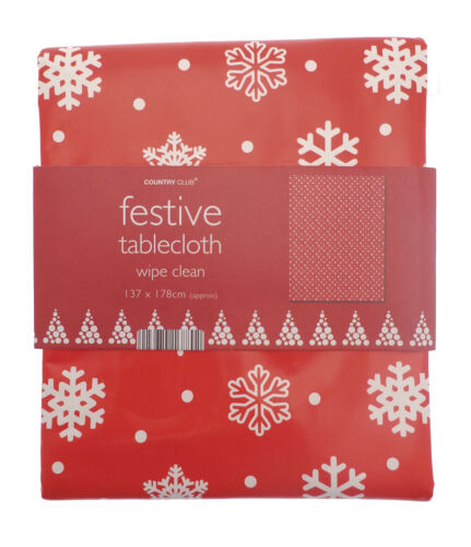 """54/"""" x 70/"""" Red Snowflake Christmas Pvc//Wipeable Tablecloth 137cms x 178cms"""