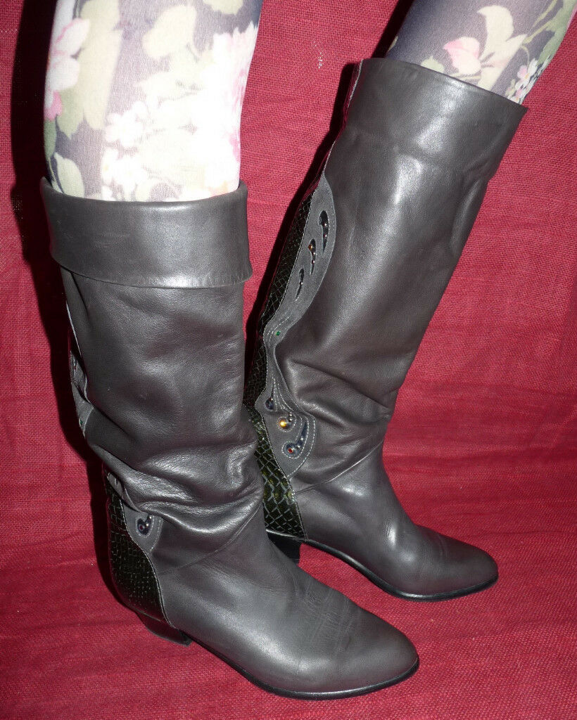 Brunella 80er 80s Pelle Vintage Stivali Slouch 37 GRIGIO leather boots uk 4.5 GRIGIO 37 be53fb
