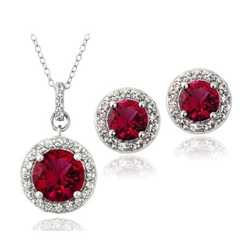3 Couleurs 925 5.25 CT créé Gemstone Round Clous d/'oreilles /& Collier SET