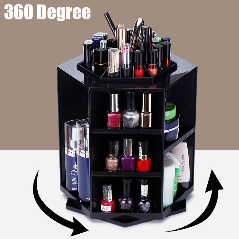 360 rotating beauty cosmetic makeup storage case box. Black Bedroom Furniture Sets. Home Design Ideas