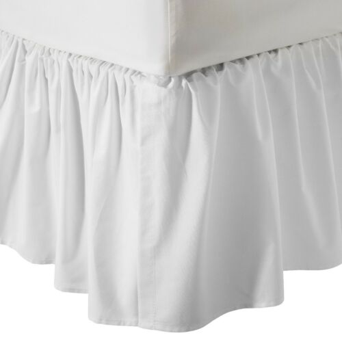 US Bed Size SPLIT-Corner Ruffle Bed Skirt 650-TC Solid White Egyptian Cotton NEW