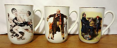 set of 3 Norman Rockwell coffee tea cup 1921 & 1936 Saturday Evening Post 12 PIX