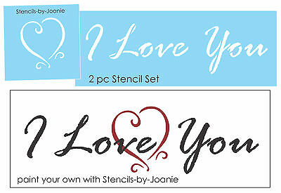 Joanie Design STENCIL Love You More Country Shabby Primitiv Heart Valentine Sign