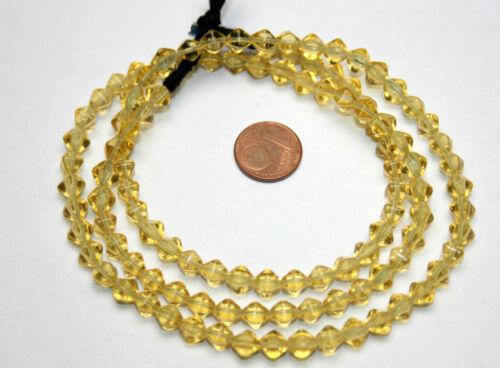 Strang 64 cm böhmische Glasperlen Bicone doppel Pyramide alt gelb 5 mm