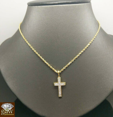 REAL 10K Gold Rope Chain Necklace /& Real Diamond /& gold Cross Pendant Ladies N
