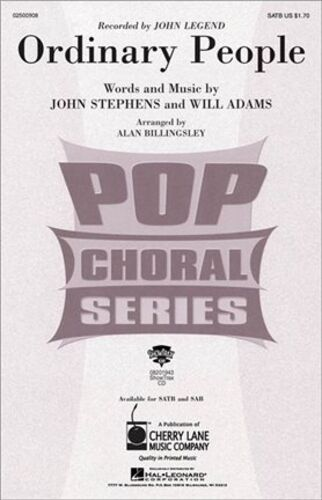 SATB Ordinary People SATB Sheet Music Vocal Score John Legend