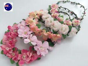 Women-Flower-Girl-Boho-Party-Wedding-Beach-Pink-Crown-hair-headband-Garland