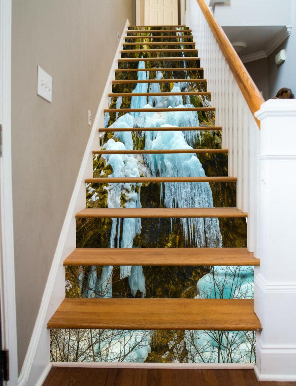 3D Eis Boden 768 Stair Risers Dekoration Fototapete Vinyl Aufkleber Tapete DE