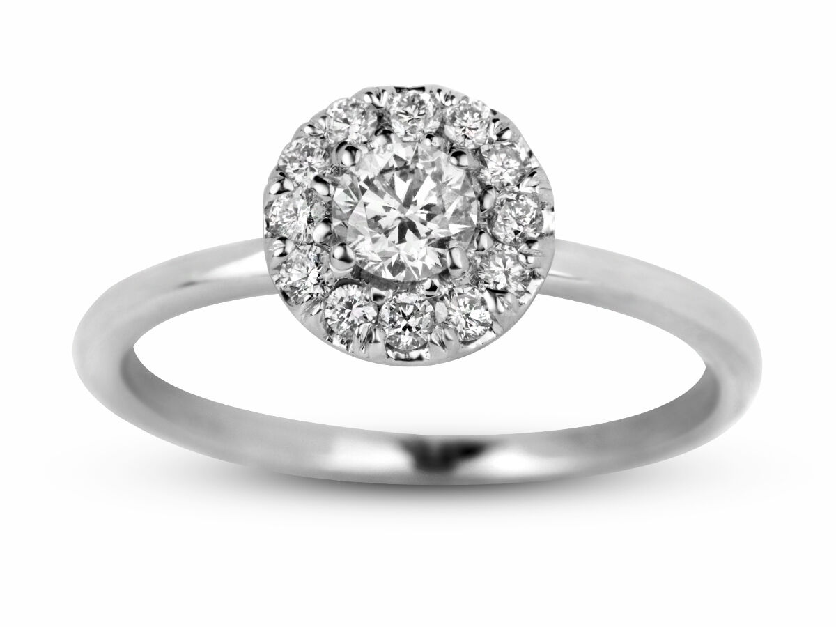 0.55 Carat Natural Round Cut Diamond Halo Engagement Ring In 14k White gold