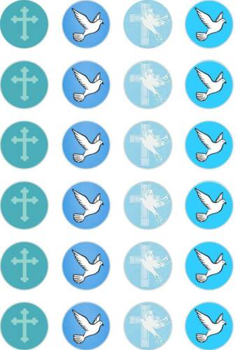 24x PRECUT BLUE BAPTISM//CHRISTENING//BOYS//CROSS//DOVE RICE PAPER CUP CAKE TOPPERS