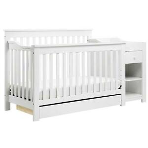 4-in-1 Crib and Changer Combo Grey Baby Bedroom Furniture ...