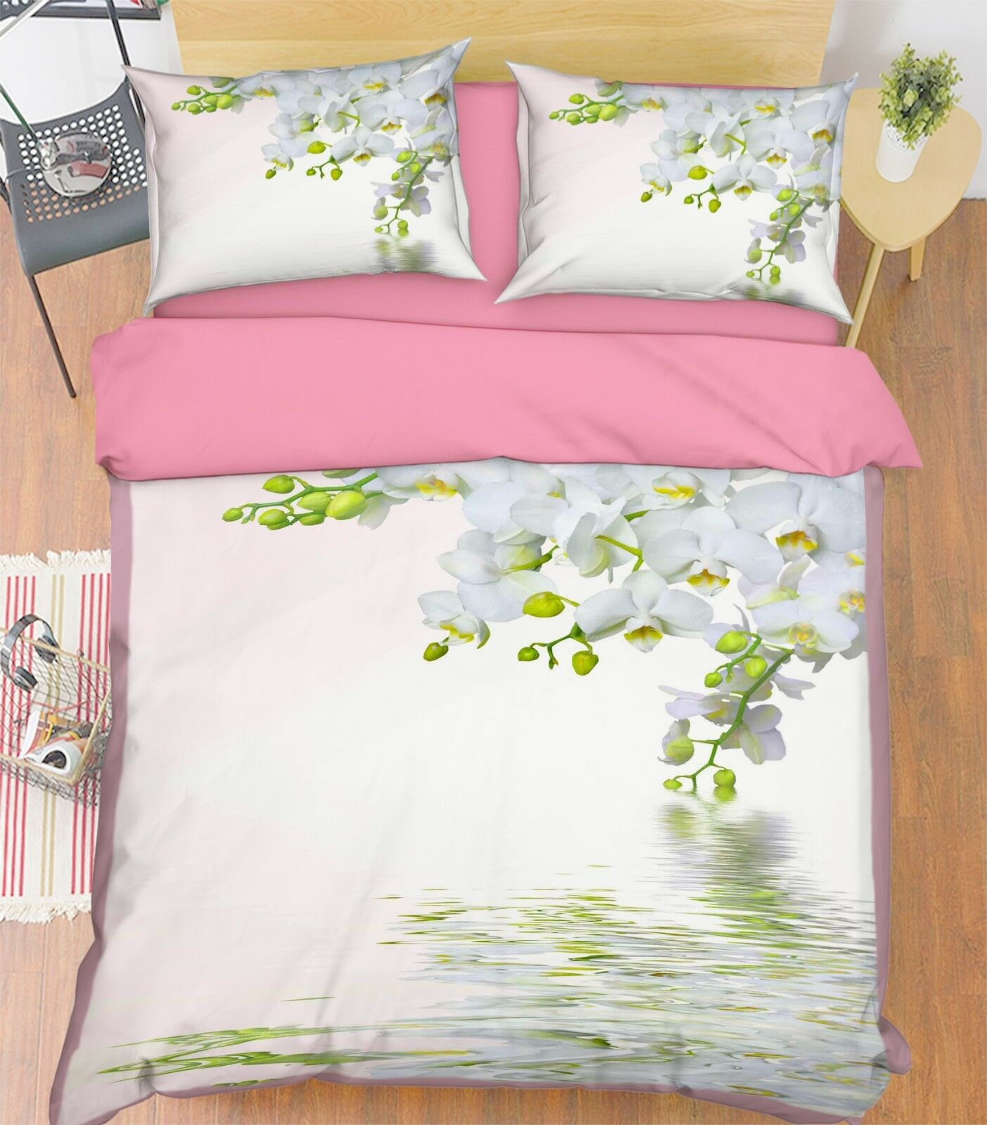 3D Flower Water 683 Bed Pillowcases Quilt Duvet Cover Set Single King UK Summer